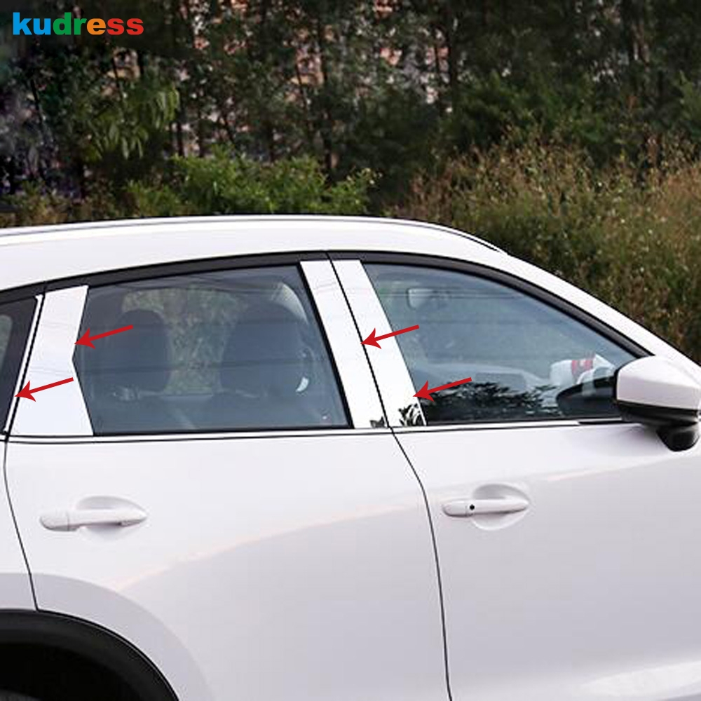 Stainless Car Upper Window Sill Garnish Cover Trim 6pcs For Mazda CX-5 2017 2018