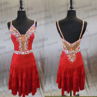 Rumba Jive Chacha Latin Dance Dress,ballroom dress,dance wear, fringe latin dress , DressSunflower Dance Dress,red