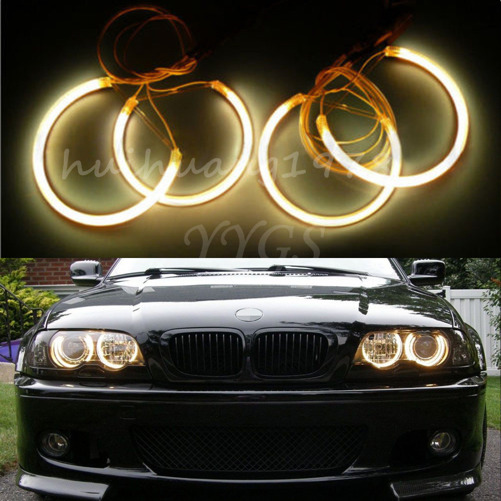 New 4x Angel Eyes Halo Rings 131mm 146mm Beam CCFL Light Non-Projector For BMW E46 3 Series 1993-2003 Yellow Car Styling bmw e83 x3 e46 compact 2w 25000k ccfl purple light car angel eyes kit dc 12v 131mm 106mm diameter