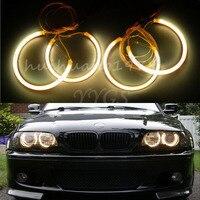 Nouveau 4x Ange Yeux Halo Anneaux 131mm 146mm Faisceau CCFL lumière Non-Projecteur Pour BMW E46 Série 3 1993-2003 Jaune De Voiture style