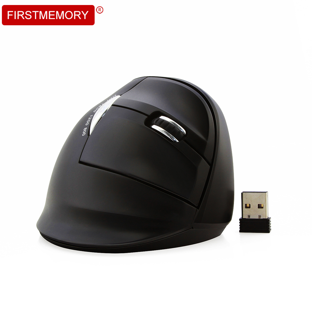 Firstmemory Wireless Vertical Mouse Ergonomic 2.4G 800-1200-1600 DPI Adjustable Optical  ...