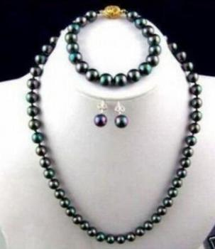 Free shipping luxury Noble jewelry SET 9-10MM NATURAL TAHITIAN BLACK PEACOCK PEARL NECKLACE BRACELET EARRING фото