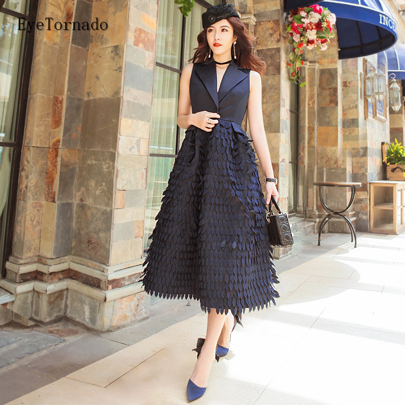 2018 women feather embroidery lace tassel party vest dress fashion V neck sexy work office fashion sleeveless formal midi Dress