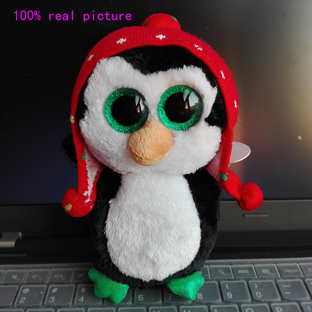 In Stock Original Ty Beanie Boos Big Eyed Stuffed Animal FREEZE - penguin  knit hat Plush 2651c4d7de76