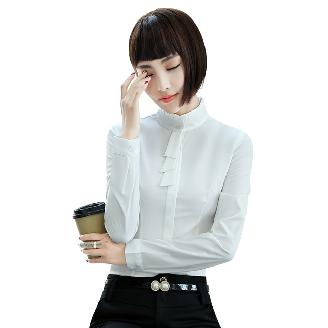 80a1859e9e0 Fashion women clothes slim shirt OL formal long sleeve Stand collar chiffon blouses  office ladies plus size work wear tops white