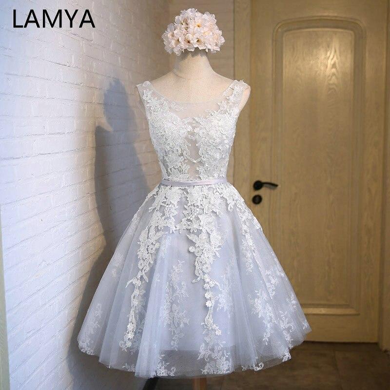 LAMYA élégante dentelle avec Tulle robes De bal 2019 pas cher courte une ligne robe formelle grande taille Vestidos De Novia