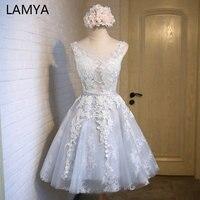 LAMYA Elegant Lace With Tulle Prom Party Dresses 2019 Cheap Short A Line Formal Dress Plus Size Vestidos De Novia