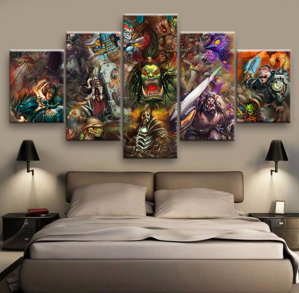 Hd 5 Piece Canvas Art Printed World Warcraft Game Painting Room Decoration Free Shipping Ff