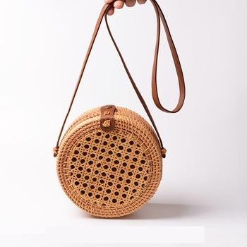 Rattan Bags for Women 2019 Hollow Out Shoulder Bag Ladies Wooden Beach Handbags Travel Cross body Strap Bag 2