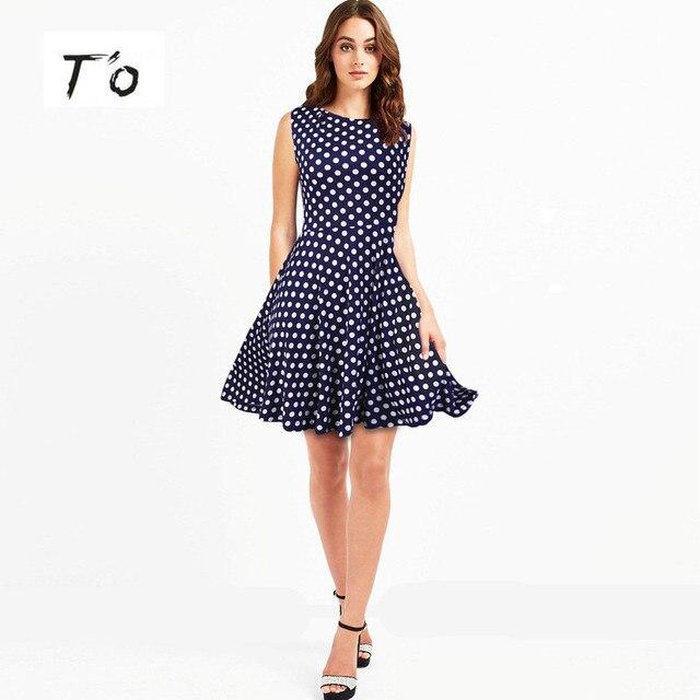 6c5d384f052 T O Elegant Above Knee Polka Dot Cute Sleeveless Swing Blue Dresses Party  Casual Mini Dress 249