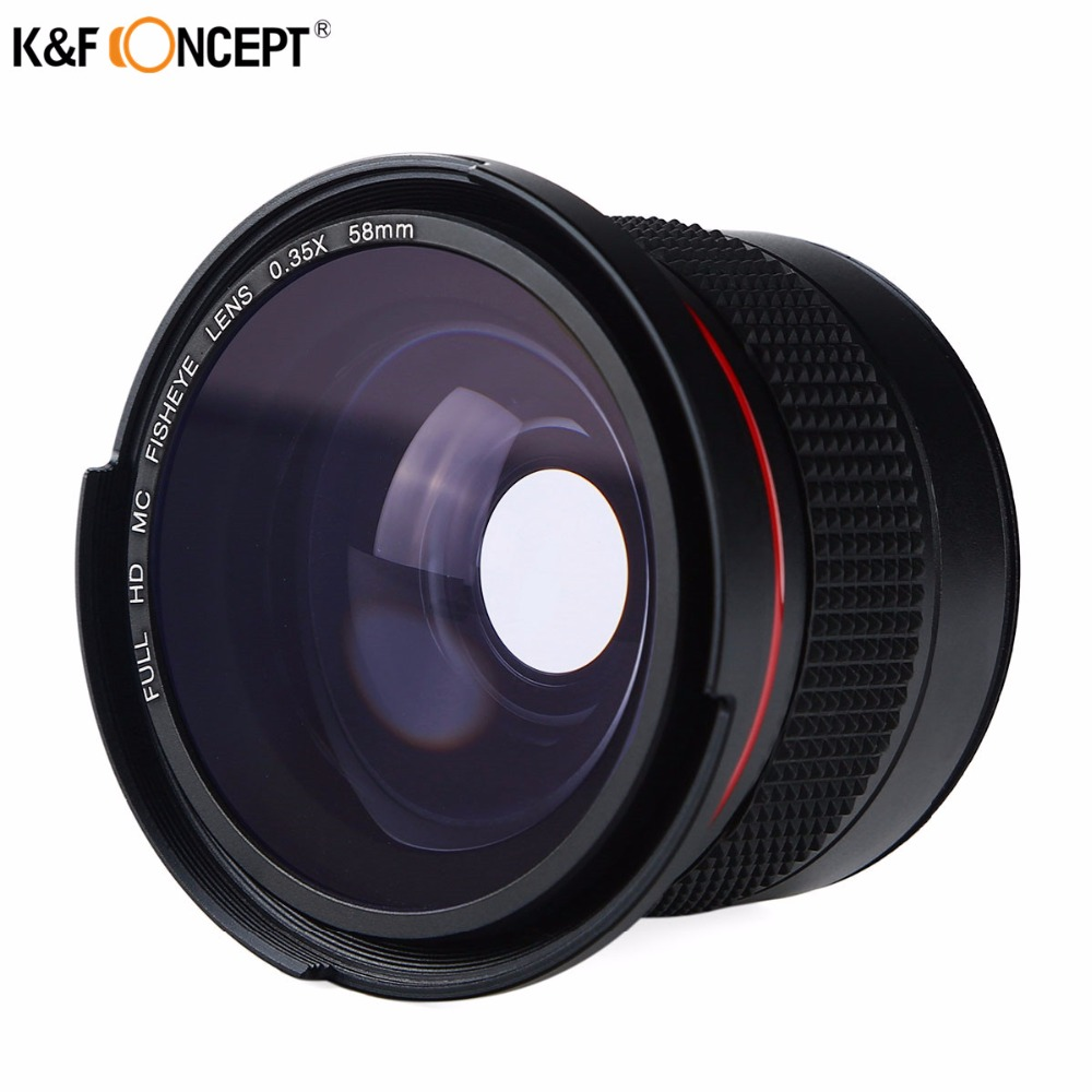 K&F CONCEPT 2in1 58mm 0.35x Fisheye Wide Angle Macro Camera Lens For <font><b>Canon</b></font> EOS <font><b>700D</b></font> 650D 600D 550D1100D Rebel T5i T4i T3i T3 T2i image