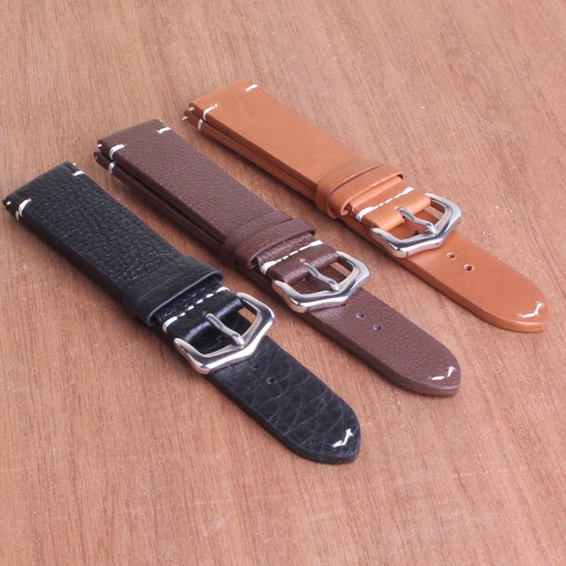 Prix pour Haute qualité montre bracelet Noir Brun bracelet en cuir véritable bande de montre 18mm 20mm 22mm