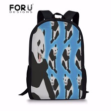 FORUDESIGNS Cute Funny Panda Print Children School Bags Primary Backpacks for Boys Girls Laptop Shoulder Bagpack Kids Book Bag