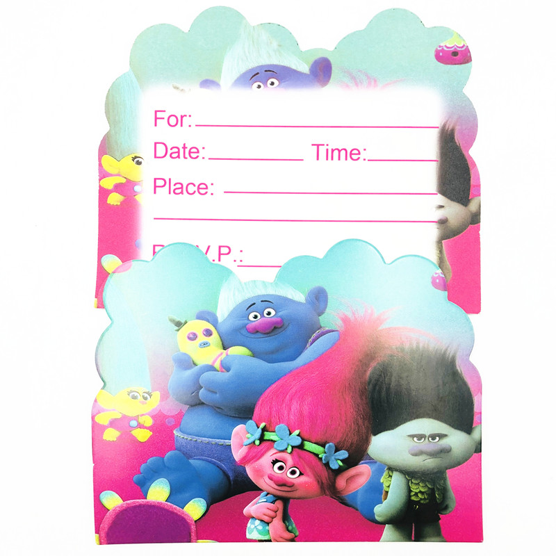 10pcs Set Trolls Invitation Card For