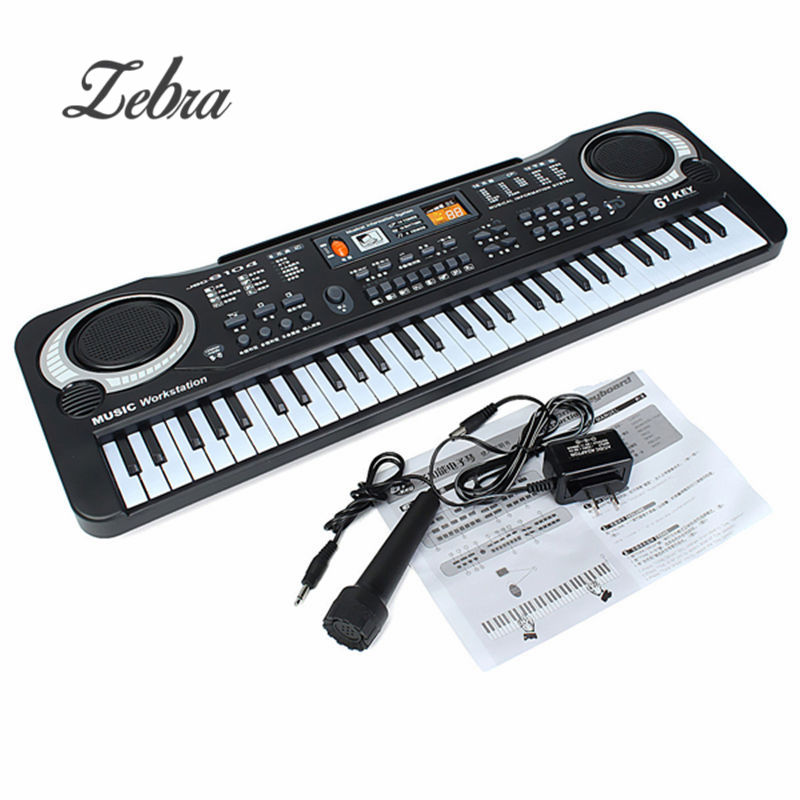 Black 61 Keys Music Electronic Keyboard Key Board Kids Gift Electric Piano Gift With Mini Microphone For Child Kid Musical Organ все цены
