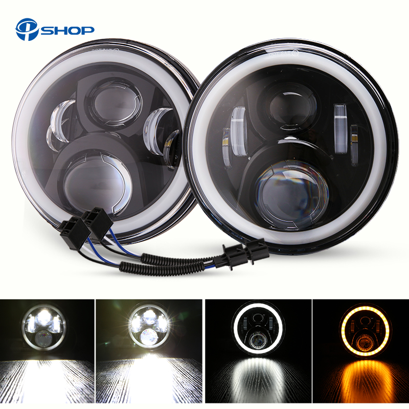 For lada niva urban 4x4 Led Headlight 7Inch LED H4 Headlights Angel Eye DRL Amber Turn Signal for lada niva 4x4 5 door Led Light