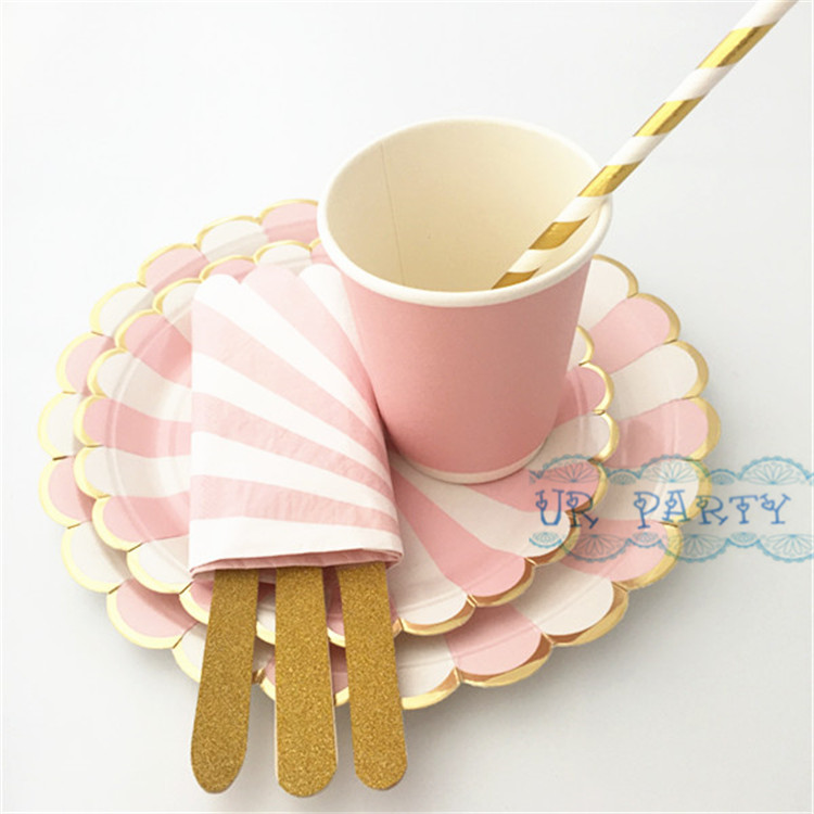 8 Sets (56pcs) Striped Scallop Paper Plates Pink Cups Foil Gold Straws Glitter Wooden & 24 Sets (192pcs) Disposable Paper Tableware Foil Pink Gold Paper ...