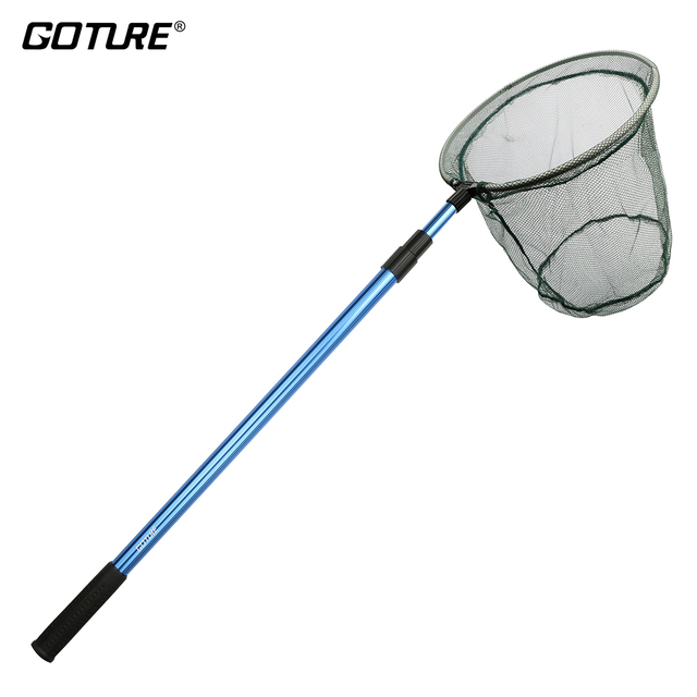 Goture folding fishing nets 120cm 145cm 173cm landing net for Fish catching net