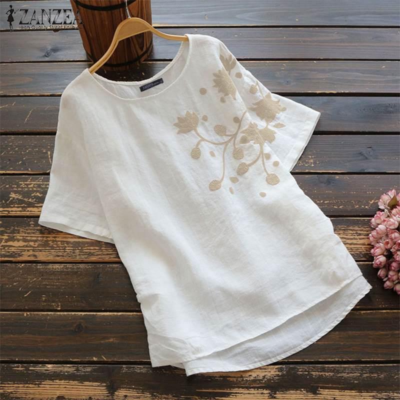 2020 ZANZEA Summer Vintage Embroidery Blouse Women Short Sleeve Cotton Linen Shirts Female O Neck Blusas Chemis S-5XL Tunic Tops