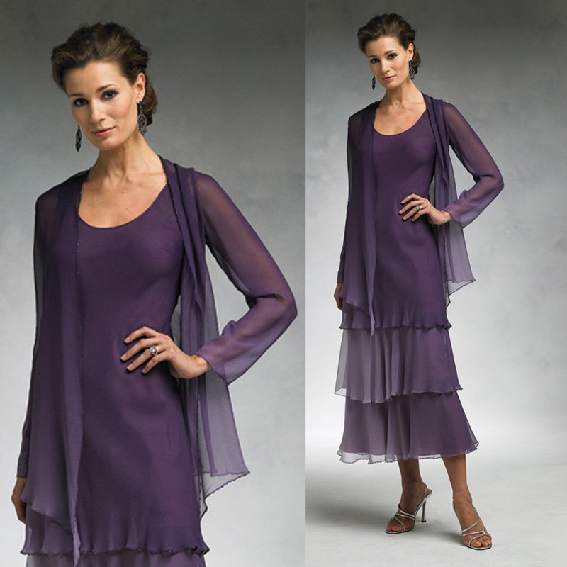 Elegant Tea Length Mother Of The Bride Dresses With Jacket Purple Chiffon Tiered Long Sleeves Summer Formal Groom Dress In
