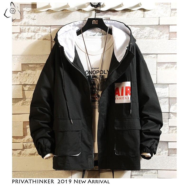 Privathinker Autum Hooded Cargo Jacket Zipper Pocket Bomber Jacket 2019 Casual Streetwear Tooling Jacket Coats Outdoors