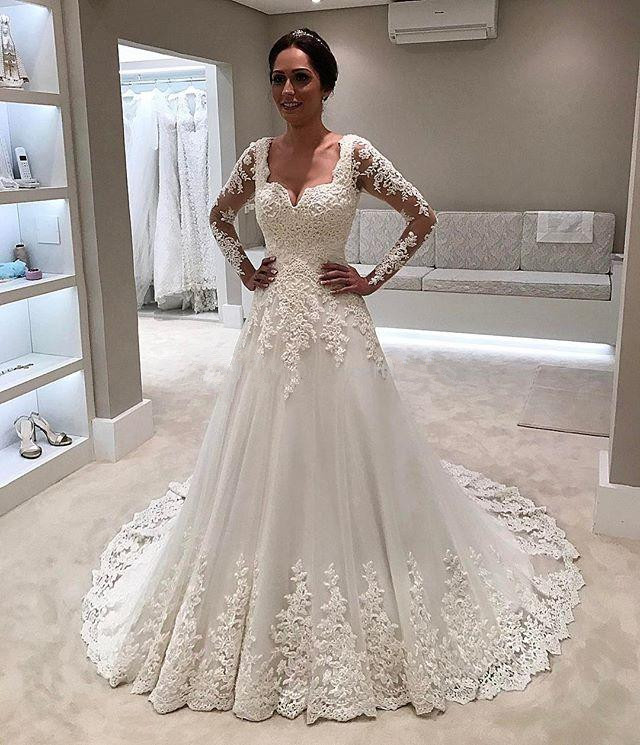 White Lace Tulle Long Wedding Dress Bridal Gown: Aliexpress.com : Buy 2019 Vintage Wedding Dresses A Line