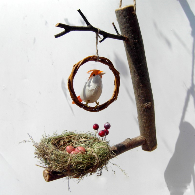 Creative Handicraft Birdu0027s Nest Home Decor Crafts Hanging Birdie Set  Figurines U0026 Miniatures Wedding Gift Garden