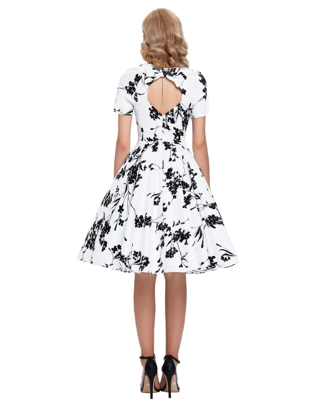 Robes Femmes 2 S Casual Nouveau Rétro up De 1 4 Pin Grande 50 Taille Court Pas Femininos Cher Robe 60 Swing 2016 Manches D'été 3 Vintage zgvwzqtnf