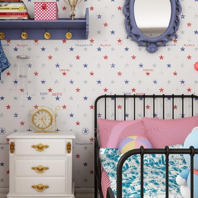 Kinderzimmer Sterne muster Tapete Jungen Cartoon Schlafzimmer Import ...