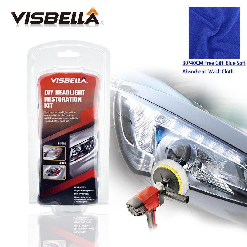 Visbella DIY Kit de Reparo Do Farol para Car Care Limpeza Renovar Restauração do Farol Profissional Lente Polonês Conjuntos de Ferramentas de Mão