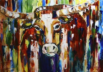 Wholesale Hand Painted Palette Knife Animal Strong Bull Oil Painting on Canvas Wall Art Cow Pictures Home Decor for Living Room