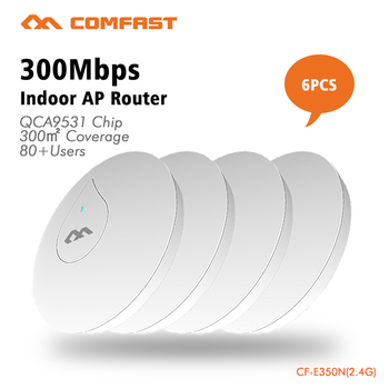 EXPRESS Free Shipping 6pc COMFAST 300Mbs Wifi Router AP Built In Power Amplifier Include POE Adapter Support OpenWRT CF-E350N