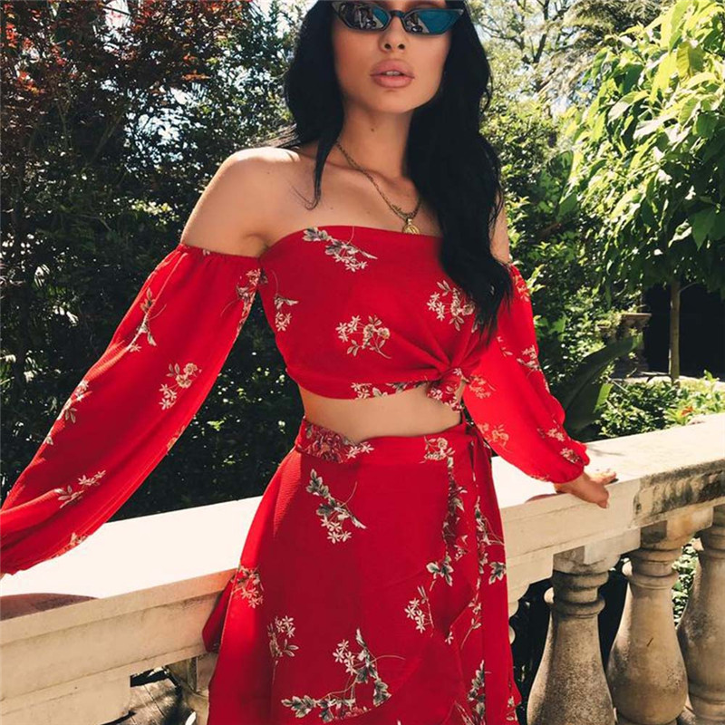 2020 New Hot Summer 2 Two Piece Set Women Sexy Off Shoulder Ruffles Tops Skirts Set Floral Print  Female Casual Holiday Outfits
