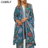 CHBBLF women vintage floral loose kimono coat open stitch coats retro female casual chic outerwear tops POP1457