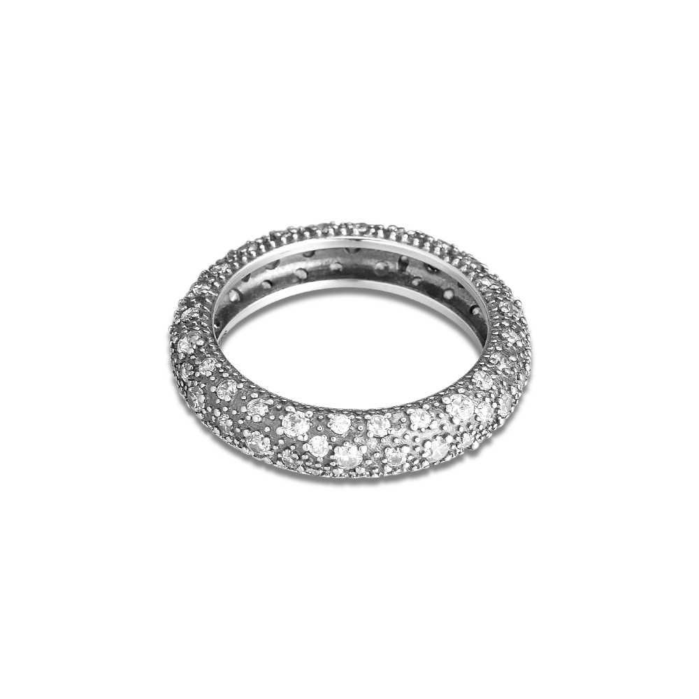 ใช้งานร่วมกับยุโรปเครื่องประดับแหวนเงิน Cubic Zirconia Midnight Blue คริสตัลใหม่ 925 เงินสเตอร์ลิงแหวนเงินผู้หญิง