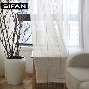 Japan Gray Striped Tulle Curtains for Window Screening Voile Sheer Curtains for Living Room Bedroom Kids Curtains