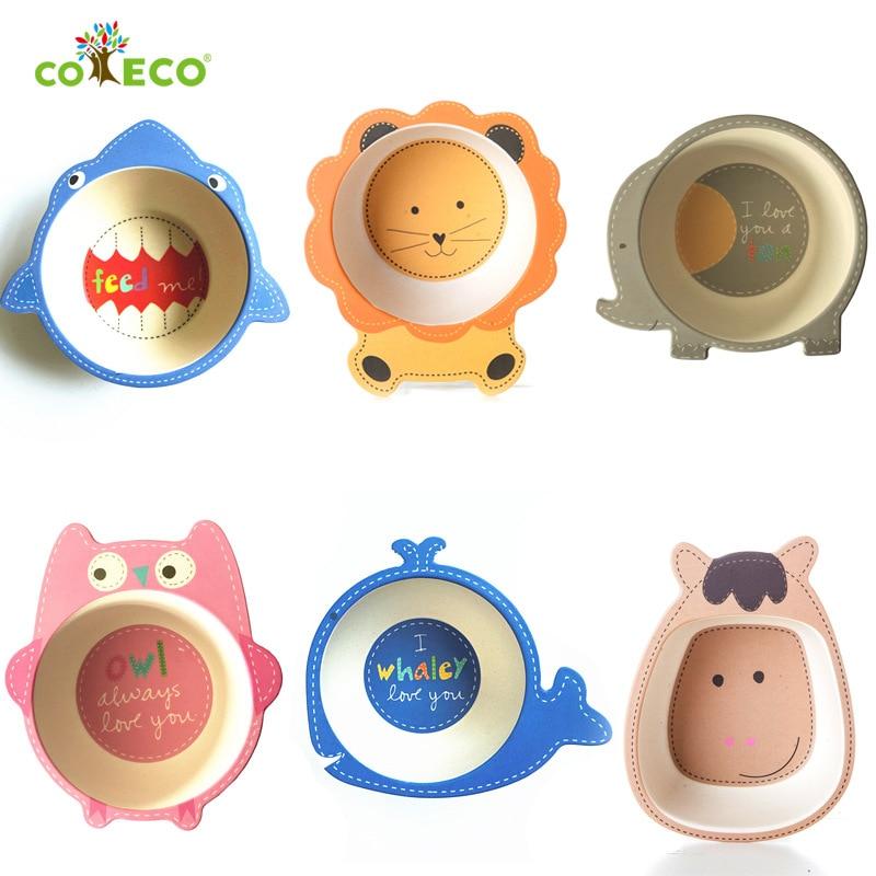 Bamboo Fiber Cartoon Baby Feeding Bowl Child Dinner Dishes Natural Healthy Environmental Dinnerware Cartoon Tableware