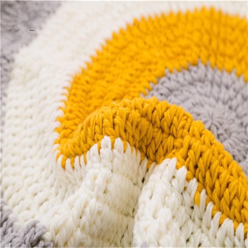 Home decor hand make knitted floor rug 80*80cm ring Children play mat acrylic carpet blanket bedroom living room table decor
