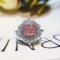 ANI 18 К из белого золота (AU750) для женщин обручальное кольцо Сертифицированный 2,252 карат вырезать прямоугольник натуральным розовый бриллиант