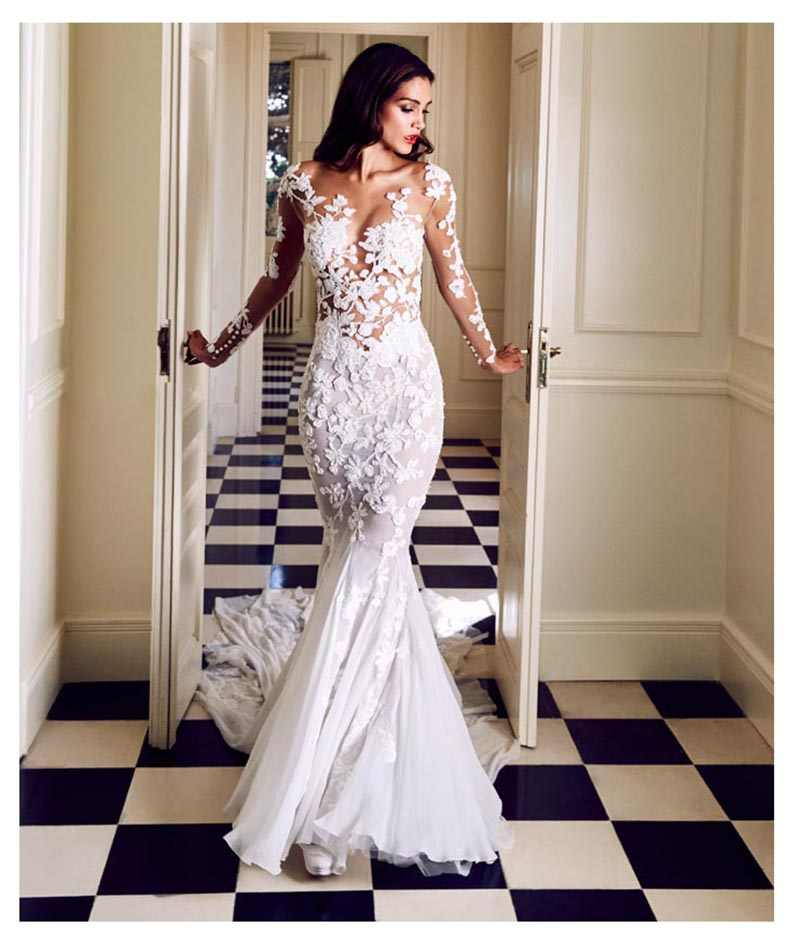 LORIE Mermaid Wedding Dress with Long Sleeves Appliques See Through White Ivory Sexy Sweep Train Bridal Dresses Wedding Gown
