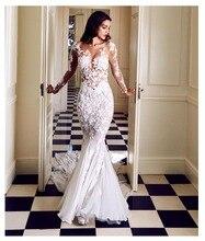 LORIE robe de mariée sirène, robe de mariée avec manches longues appliquées, transparente, couleur ivoire, Sexy, robe de mariée, à balayage