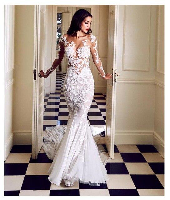 LORIE vestido de novia de manga larga, corte sirena, con apliques transparentes, blanco marfil, Sexy, cola de barrido, vestido de novia