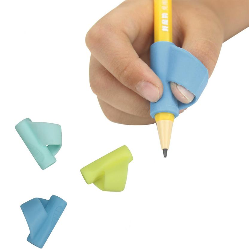 3PCS/Set Silicone Children Pencil Holder Pen Writing Aid Grip Posture Correction Tool New 2O1103