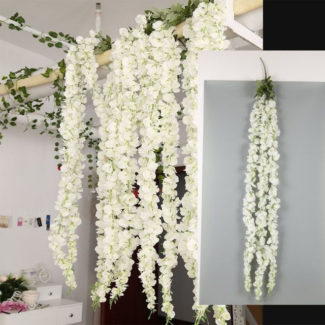 White Wisteria Garland Hanging Flowers For Outdoor Wedding Ceremony Decor Silk Vine Arch Fl