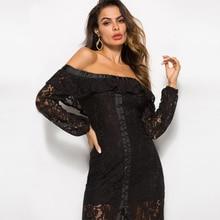 LOVEBATU Brand Slash Neck Black Hollowed-Out Lotus Lace Dress