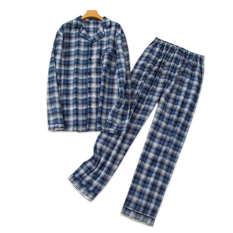 Fashion Plaid Pyjamas Mens Pajama Sets Winter Pijama Long Sleeves 100% Cotton Pyjamas Men Elegance Sleepwear Pajamas Nightwear