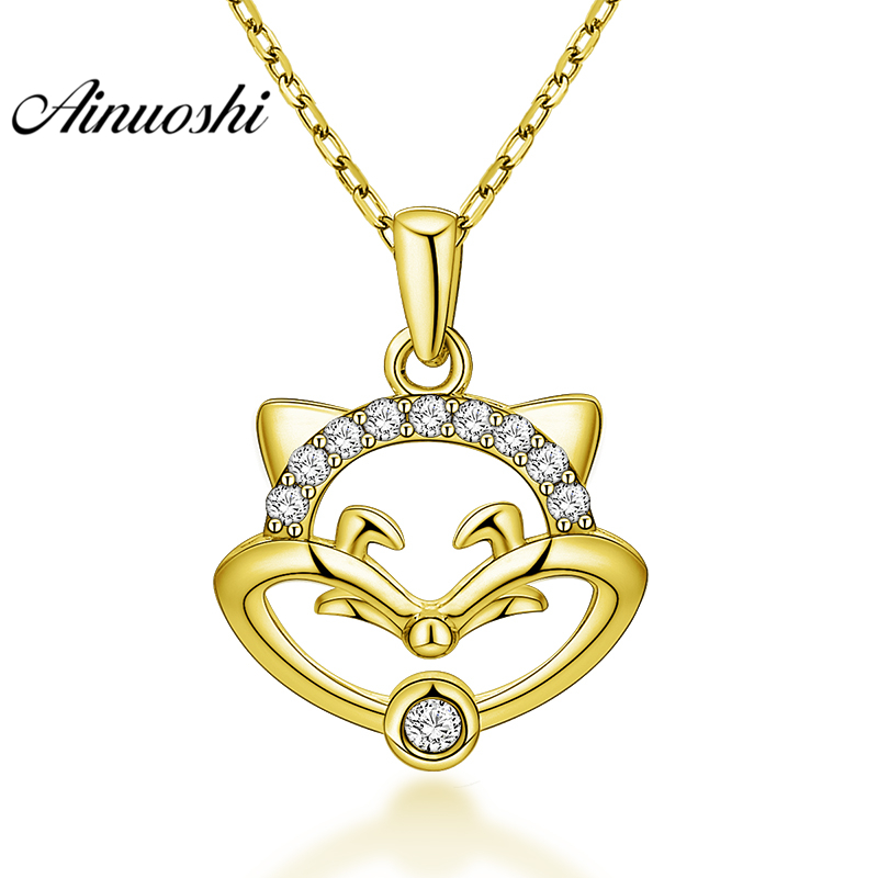 AINUOSHI 10K Solid Yellow Gold Pendant Cute Fox Pendant SONA Diamond Women Men Gold Jewelry Little Animal Shape Separate Pendant stylish fox head shape embellished gold sunglasses for women