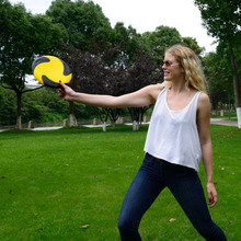 Eco-Friendly Yellow & Black Outdoor Unique PU Foam Materials Anti-Skid Frisbee Flying Fun Sport Trianing For Kids Baby Toy Gifts