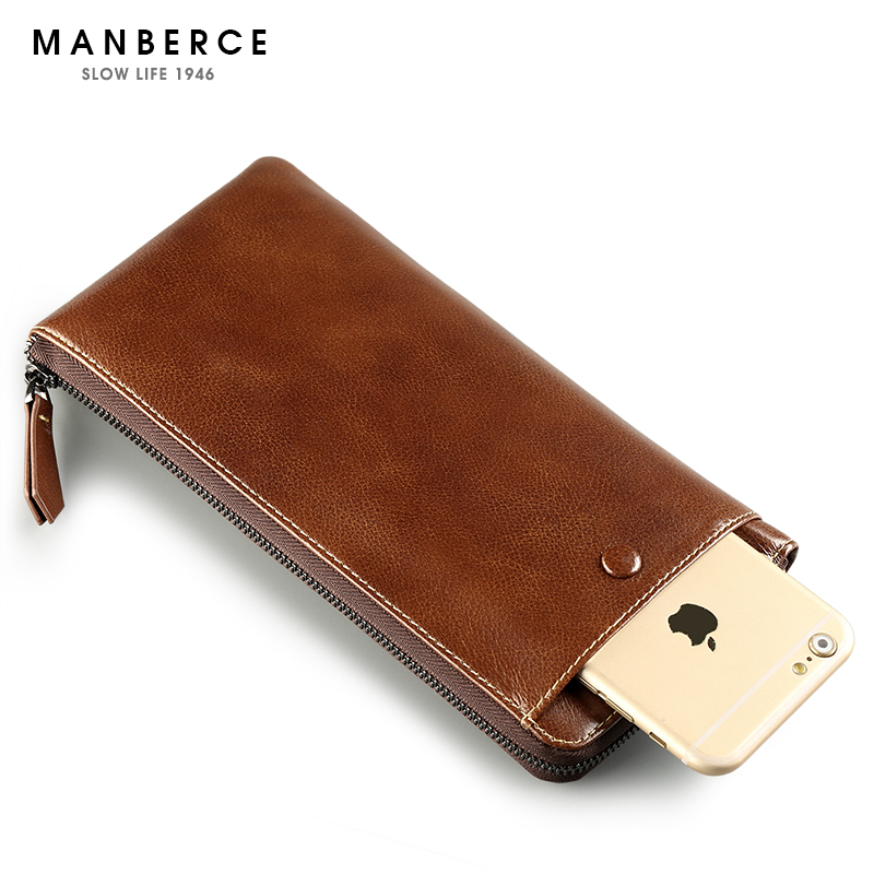 MANBERCE Brand 2017 Hot Mens Wallet Leather Genuine Men Clutch Bags Purses And Handbags Cowhide Man Fashion Wallet Free Shipping  2017 luxury brand men clutch cowhide wallet genuine leather hand bag classic multifunction mens high capacity clutch bags purses