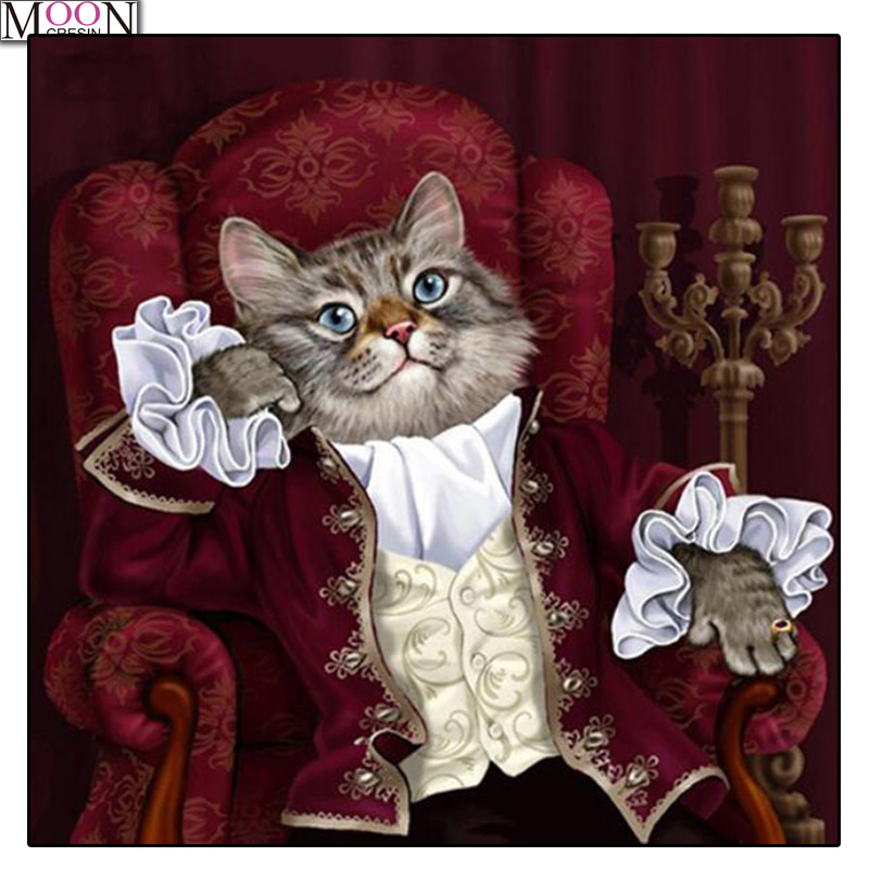 MOONCRESIN DIY Diamond Embroidery Squire Gentleman Cat Painting Cross Stitch Full Square Drill Rhinestone Mosaic Decoration Arts in Diamond Painting Cross Stitch from Home Garden